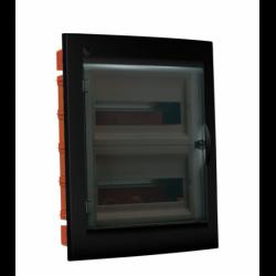 Rozdzielnica elektryczna modułowa 24 (2x12m) 345 x 425 x 109 Poliester Czarny IP 40 Podtynkowa