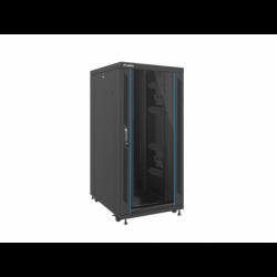"""Szafa Instalacyjna Rack Stojąca 19"""" 27u 800x1000 Czarna Drzwi Szklane Lanberg (FLAT Pack)"""
