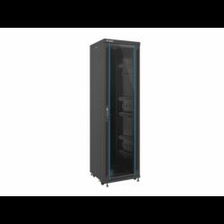"""Szafa Instalacyjna Rack Stojąca 19"""" 42u 600x600 Czarna Drzwi Szklane Lanberg (FLAT Pack)"""