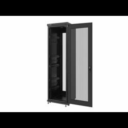 """Szafa Instalacyjna Rack Stojąca 19"""" 42u 600x600 Czarna Drzwi Perforowane Lanberg (FLAT Pack)"""