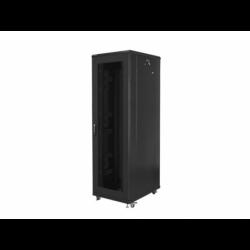 """Szafa Instalacyjna Rack Stojąca 19"""" 42u 800x800 Czarna Drzwi Perforowane Lanberg (FLAT Pack)"""