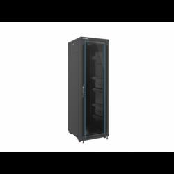 """Szafa Instalacyjna Rack Stojąca 19"""" 37u 600x800 Czarna Drzwi Szklane Lanberg (FLAT Pack)"""