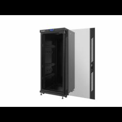 """Szafa Instalacyjna Rack Stojąca 19"""" 27u 600x600 Czarna Drzwi Szklane Lcd Lanberg (FLAT Pack)"""