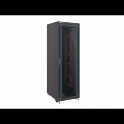 """Szafa Instalacyjna Rack Stojąca 19"""" 42u 800x1000 Czarna Drzwi Szklane Lcd Lanberg (FLAT Pack)"""