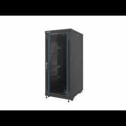 """Szafa Instalacyjna Rack Stojąca 19"""" 27u 600x800 Czarna Drzwi Szklane Lanberg (FLAT Pack)"""