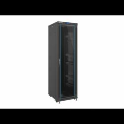 """Szafa Instalacyjna Rack Stojąca 19"""" 42u 600x800 Czarna Drzwi Szklane Lcd Lanberg (FLAT Pack)"""