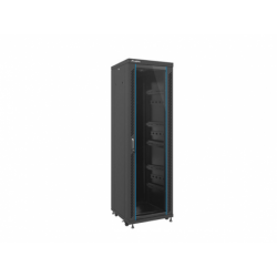 """Szafa Instalacyjna Rack Stojąca 19"""" 37u 600x600 Czarna Drzwi Szklane Lanberg (FLAT Pack)"""