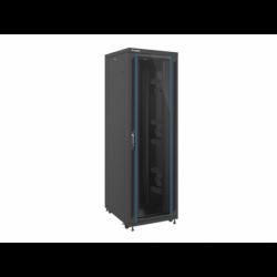 """Szafa Instalacyjna Rack Stojąca 19"""" 42u 800x1000 Czarna Drzwi Szklane Lanberg (FLAT Pack)"""