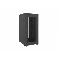 """Szafa Instalacyjna Rack Stojąca 19"""" 27u 800x1000 Czarna Drzwi Perforowane Lcd Lanberg (FLAT Pack)"""